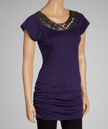 Purple Embellished Top