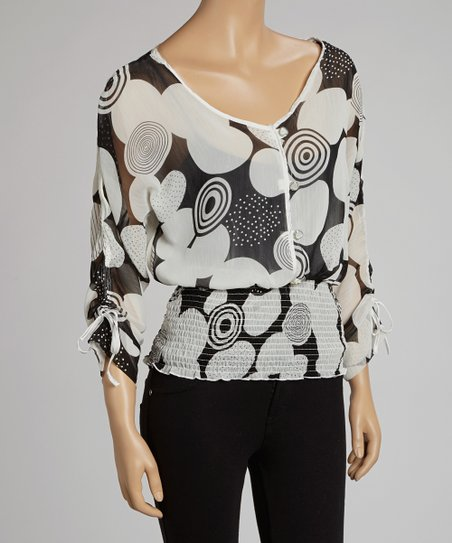 Black & White Shirred Top