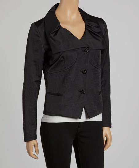Black Wide Collar Short Jacket