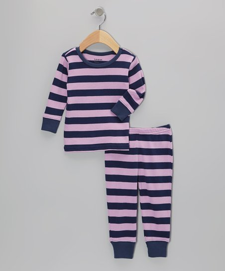 Purple & Navy Stripe Pajama Set - Infant & Girls