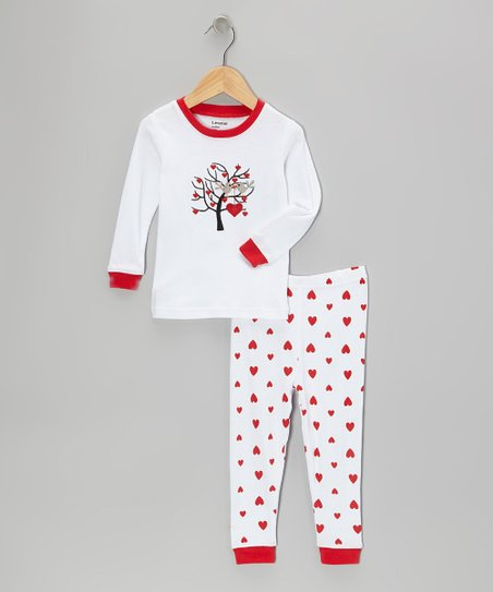 White & Pink Love Tree Pajama Set - Infant, Toddler & Girls