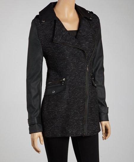 Black Diamond Faux Leather Jacket