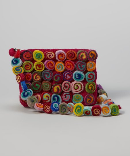 Rainbow Button Felt Crossbody Bag