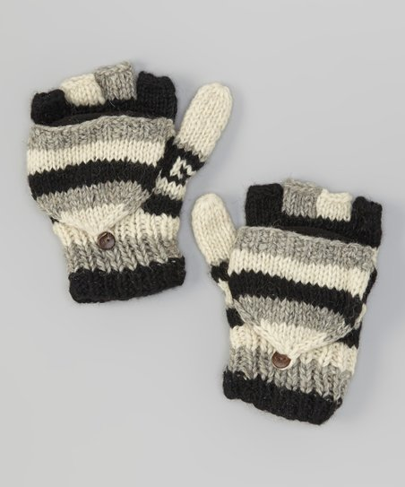 Black Stripe Wool Convertible Mittens