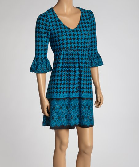 Blue Houndstooth Ruffle Empire-Waist Dress
