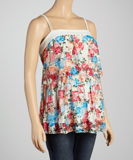 Blue Floral Layered Maternity Tank