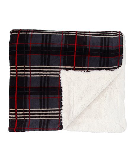 Gray Plaid Reversible Throw