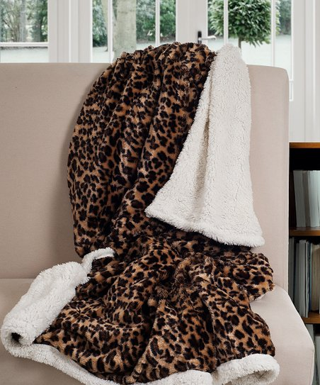 Brown Leopard Lavish Reversible Throw