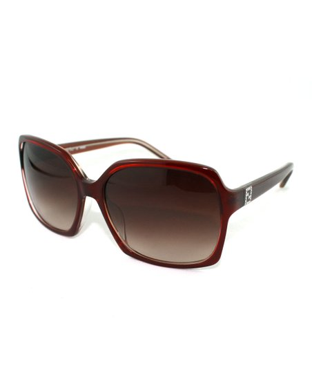 Burgundy Geometric Butterfly Sunglasses