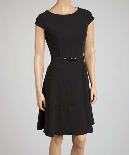 Black Belted Skater Dress