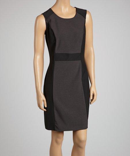 Black & Charcoal Color Block Dress
