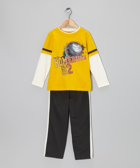 Yellow 'Homerun' Layered Tee & Black Track Pants - Boys