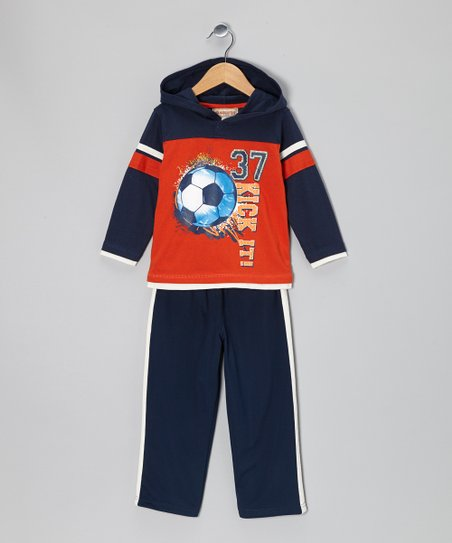 Orange Hooded Layered Tee & Navy Pants - Infant, Toddler & Boys