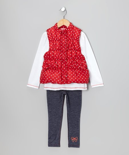Red & White Polka Dot Vest Set - Infant, Toddler & Girls