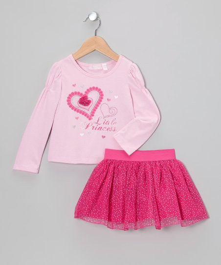 Pink 'Little Princess' Tee & Skirt - Toddler & Girls