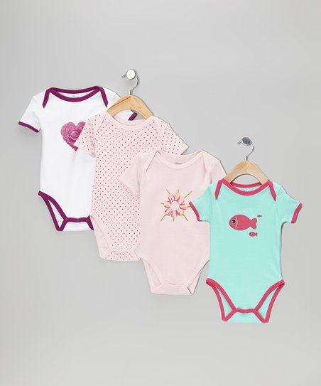 Pink Heart Nature Bodysuit Set - Infant
