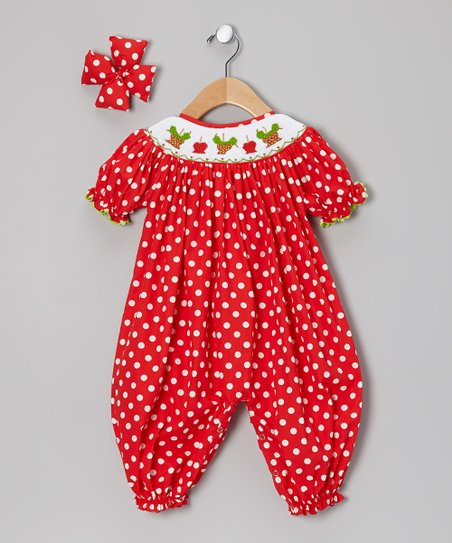 Red Candy Apple Bishop Bubble Playsuit & Bow Clip - Infant