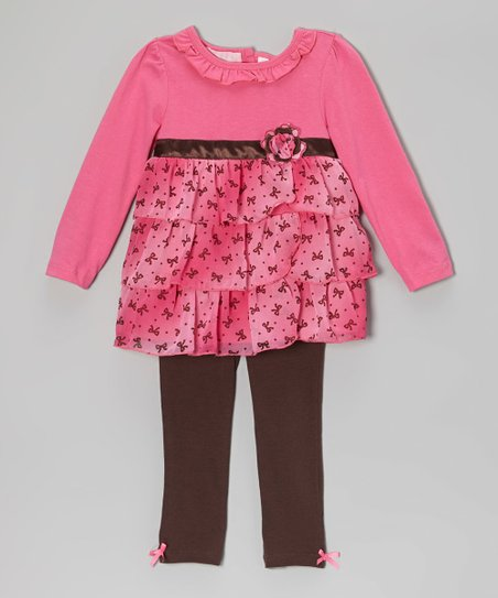 Fuchsia Bow Tunic & Leggings - Infant, Toddler & Girls