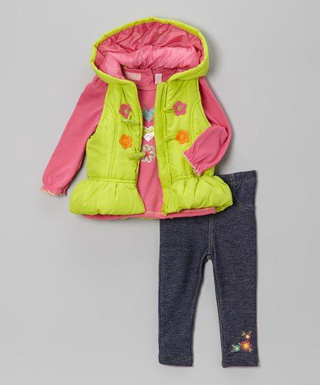 Lime Daisy Vest Set - Infant, Toddler & Girls