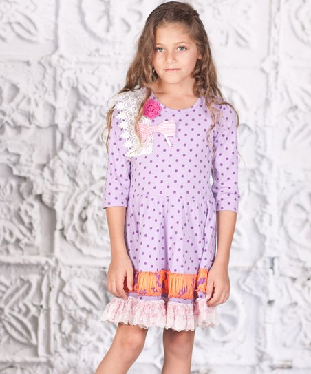 Purple Polka Dot Lace Princess Dress - Toddler & Girls