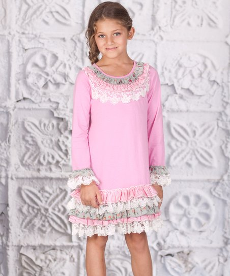 Pink Lace Ruffle Becky Dress - Girls