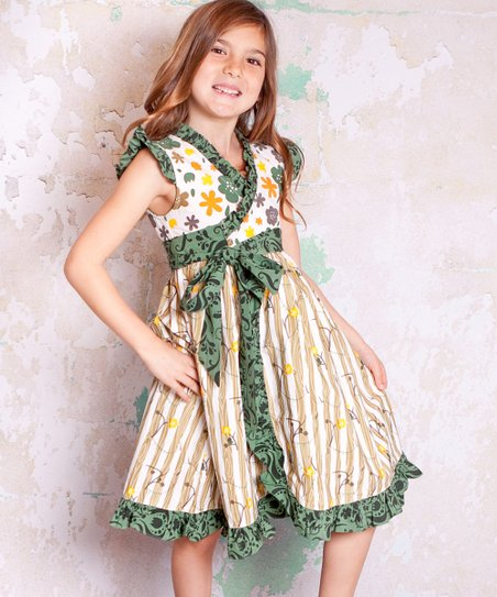 Green & Tan Monaco Misha Dress - Infant, Toddler & Girls