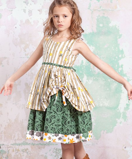 Green & Tan Monaco Tenley Dress - Infant, Toddler & Girls