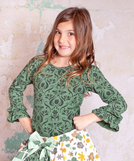 Green Monaco Emma Top - Infant, Toddler & Girls