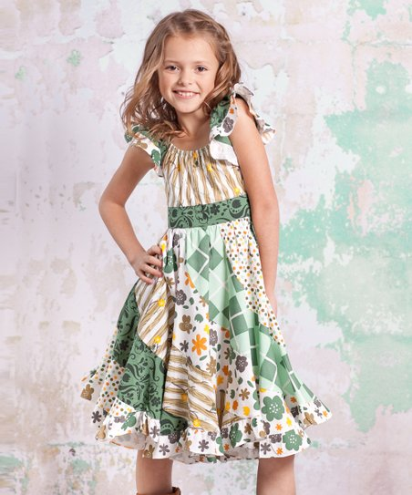 Green & White Monaco Flo Dress - Infant, Toddler & Girls
