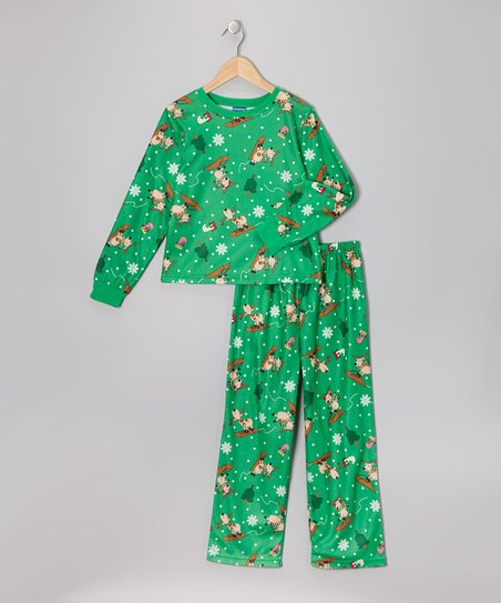 Green Silly Reindeer Flannel Pajama Set - Toddler & Girls