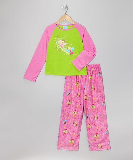 Pink & Lime Fairy Pajama Set - Toddler & Girls