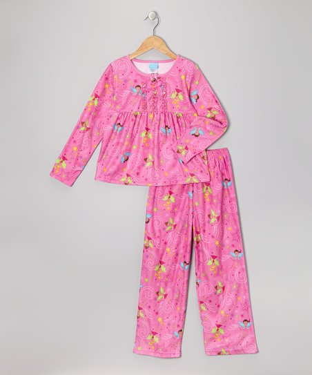 Pink Fairy Flannel Babydoll Pajama Set - Girls