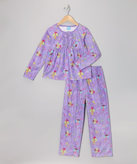 Lavender Fairy Flannel Babydoll Pajama Set - Girls