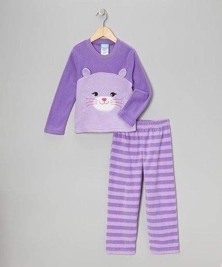 Purple Kitty Fleece Pajama Set - Girls