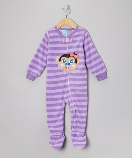 Purple Monkey Fleece Footie - Infant & Toddler