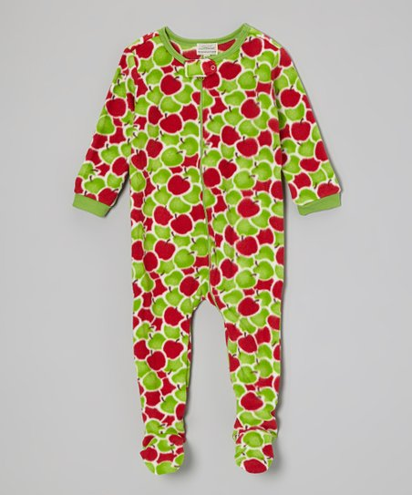 Red & Green Apples Footie - Infant, Toddler & Girls
