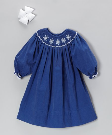 Navy Snowflake Corduroy Dress & Bow Clip - Infant & Girls