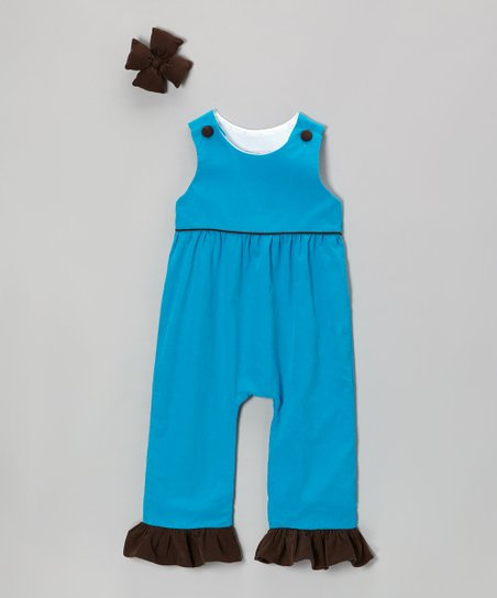Turquoise Corduroy Overalls & Clip - Infant, Toddler & Girls