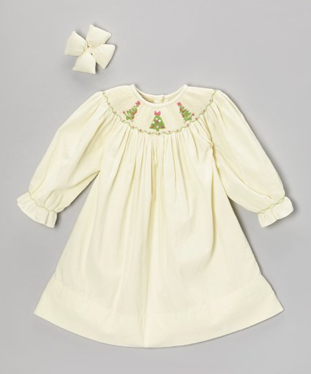 Cream Christmas Corduroy Dress & Clip - Toddler