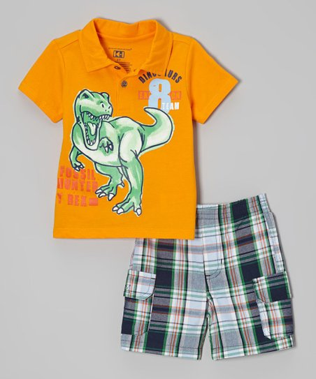Orange 'Fossil Hunter' Polo & Shorts - Infant, Toddler & Boys