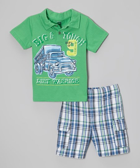 Green 'Big & Tough' Polo & Plaid Shorts - Infant, Toddler & Boys