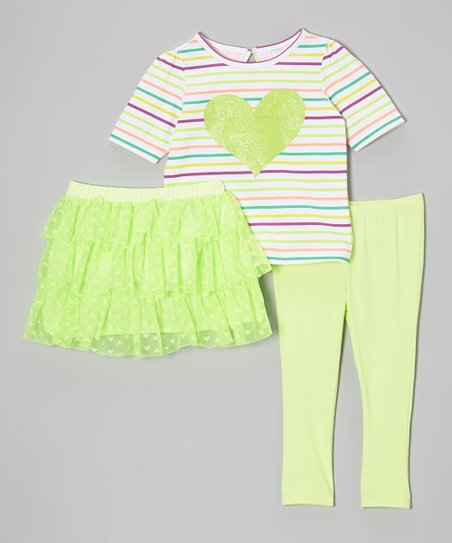 Green & Purple Stripe Heart Tee Set - Infant, Toddler & Girls