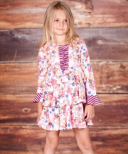Pink Petite Fleur Tiered Party Dress - Infant, Toddler & Girls