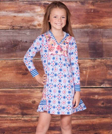Blue Pansie Hooded Dress - Infant, Toddler & Girls