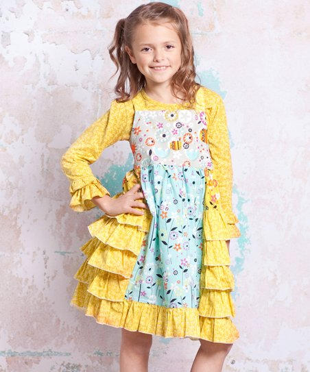 Blue & Yellow Bee Heather Dress - Infant, Toddler & Girls