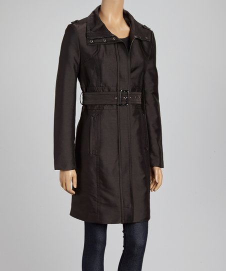Black Cotton Sateen Belted Jacket - Women