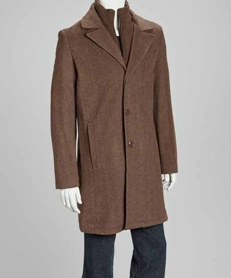 Brown Layered Wool-Blend Coat - Men