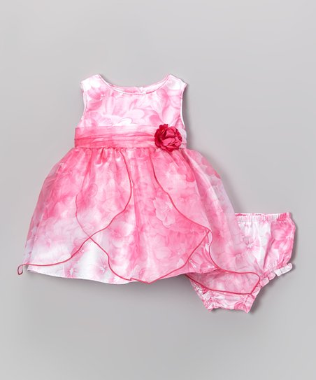 Pink Floral Petal Dress & Diaper Cover - Infant