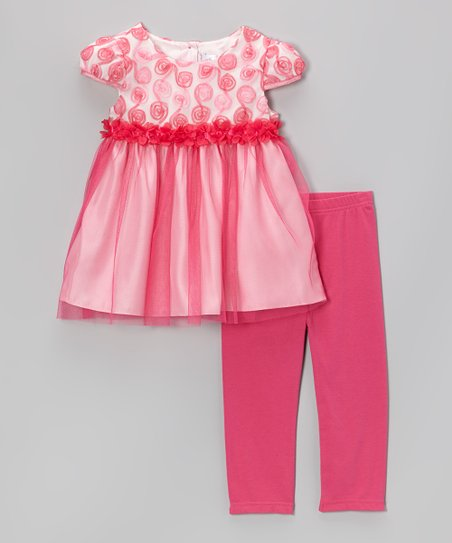 Pink Rosette Cap-Sleeve Dress & Leggings - Toddler & Girls