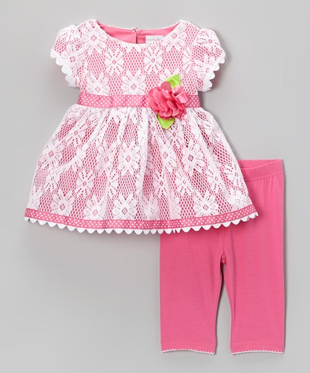 Pink Lace Cap-Sleeve Dress & Leggings - Toddler & Girls